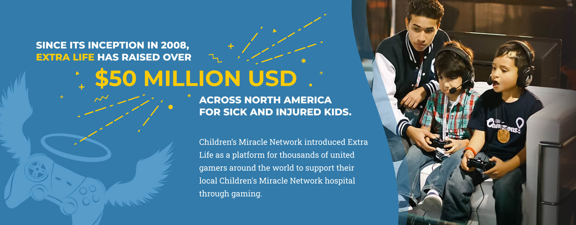 Slide 3 - Since its inception in 2008, Extra Life has raised over $50 million USD across North America for sick and injured kids. Children's Miracle Network introduced Extra Life as a platform for thousands of united gamers around the world to support their local Children's Miracle Network hospital through gaming.