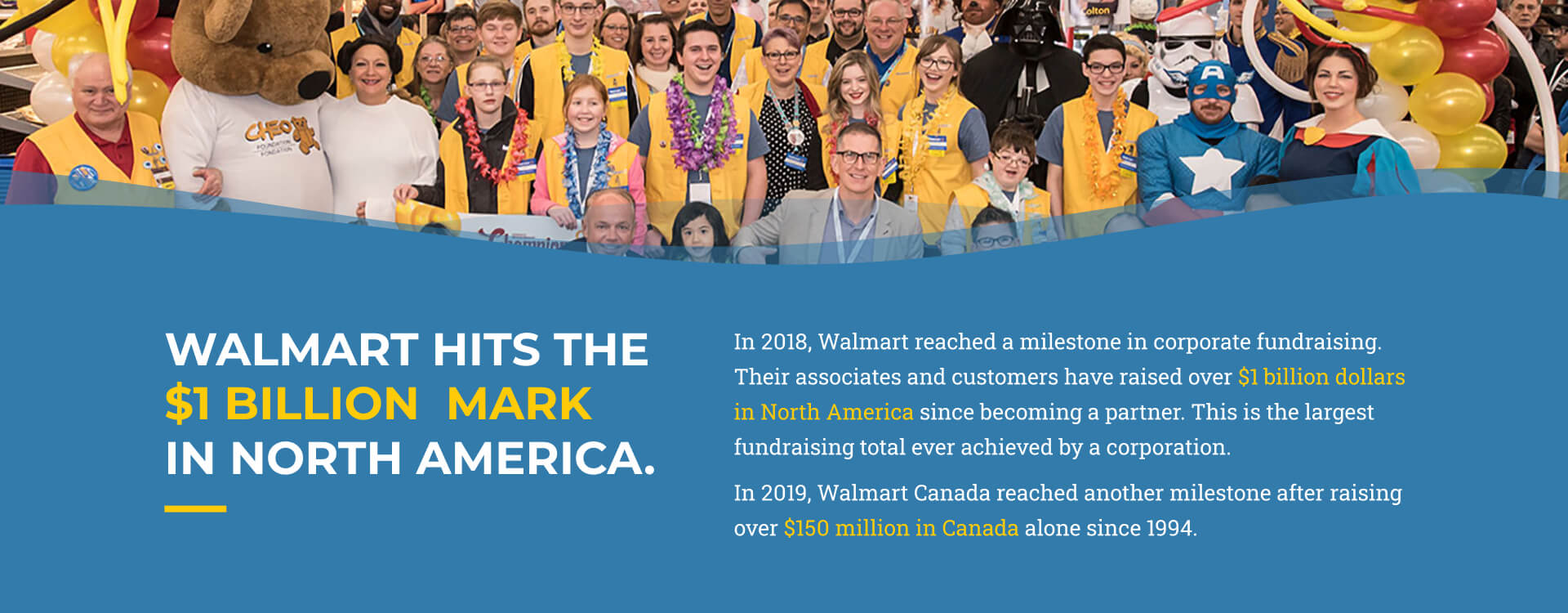 Slide 6 - Walmart hits the $1b mark in North America. In 2018, Walmart reached a milestone in corporate fundraising. Their employees and customers have raised over $1 billion dollars in North America since becoming a partner. This is the largest fundraising total ever achieved by a corporation. In 2019, Walmart Canada reached another milestone after raising over $150 million in Canada alone since 1994.
