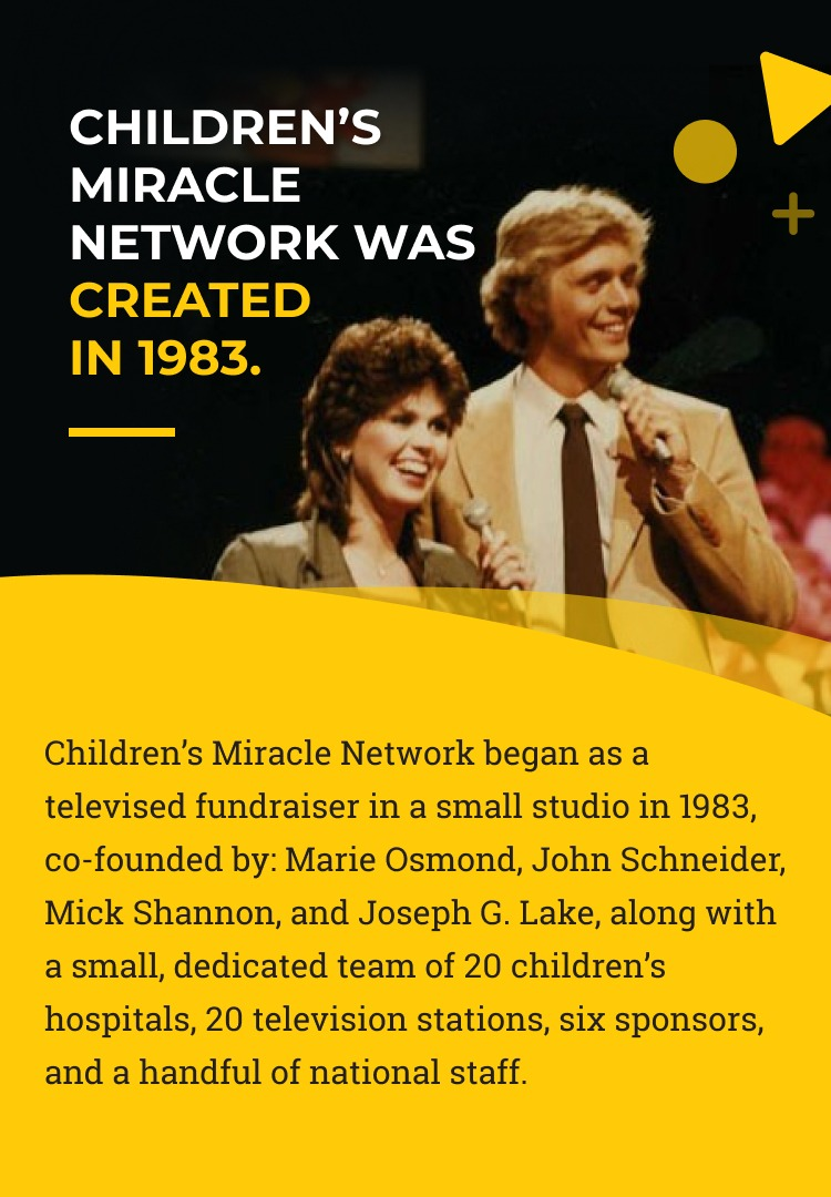 Slide 1 - Children's Miracle Network was created in 1983. Children's Miracle Network began as a televised fundraiser in a small studio in 1983, co-founded by Marie Osmond, John Schneider, Mick Shannon and Joseph G. Lake, along with a small, dedicated team of 20 children's hospitals, 20 television stations, six sponsors and a handful of national staff.