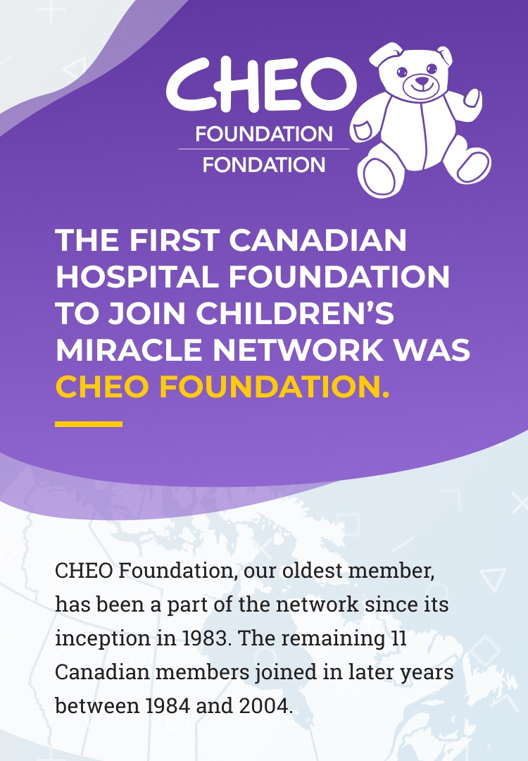 Slide 2 - The first Canadian hospital foundation to join Children's Miracle Network was CHEO Foundation. CHEO Foundation, our oldest member, has been a part of the network since its inception in 1983. The remaining 11 Canadian members joined in later years between 1984 and 2004.